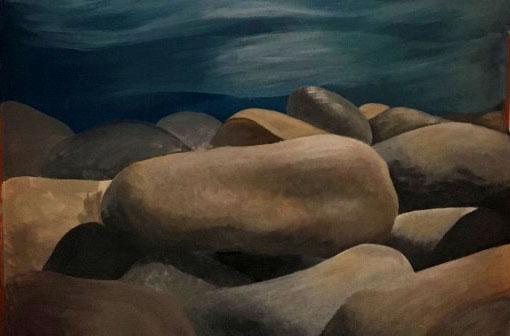 rocks mural beach