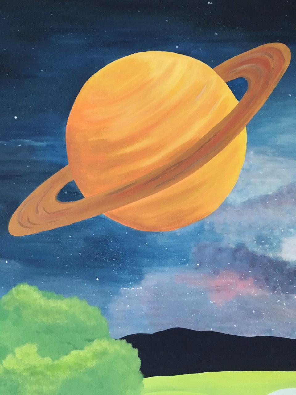 Saturn mural painting