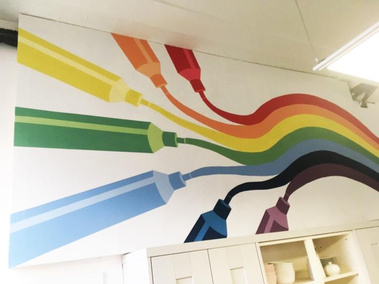 rainbow pens mural
